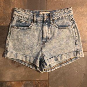 Acid wash mom shorts